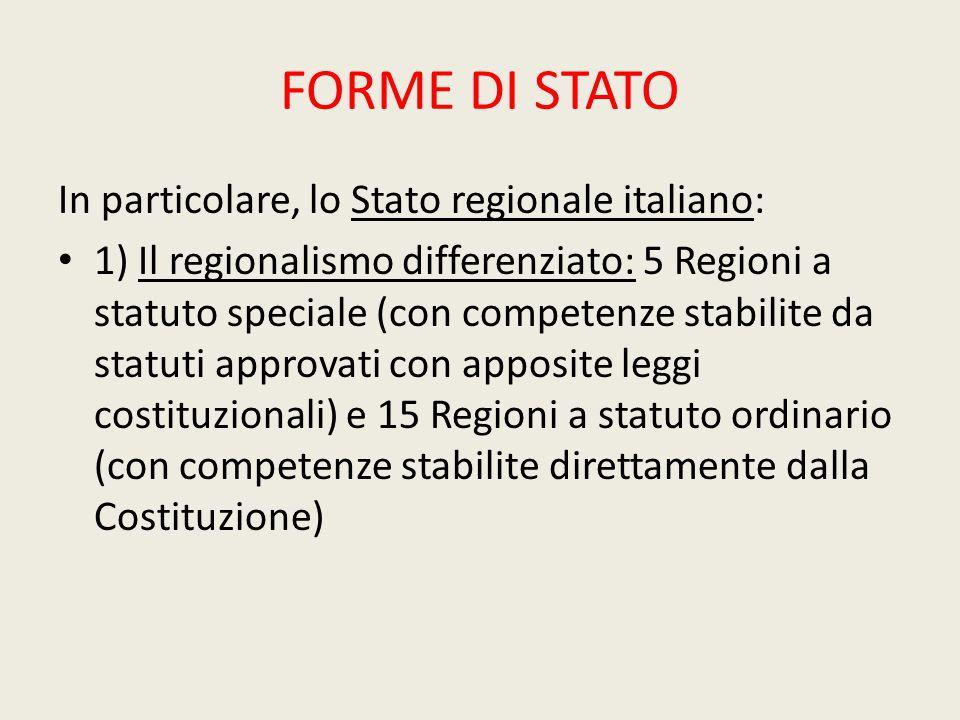 FORME DI STATO In particolare, lo Stato regionale italiano: 1) Il regionalismo differenziato: 5 Regioni a statuto speciale (con competenze stabilite d