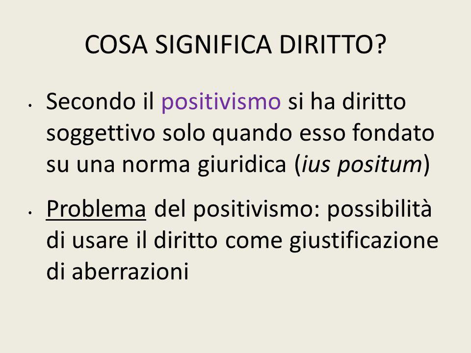 COSA SIGNIFICA DIRITTO? Secondo il positivismo si ha diritto soggettivo solo quando esso fondato su una norma giuridica (ius positum) Problema del pos
