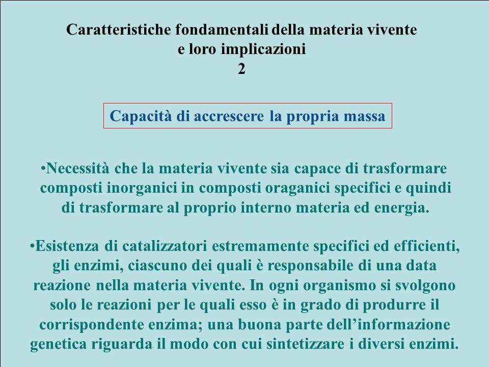 Caratteristiche fondamentali della materia vivente e loro implicazioni 2 Capacità di accrescere la propria massa Necessità che la materia vivente sia