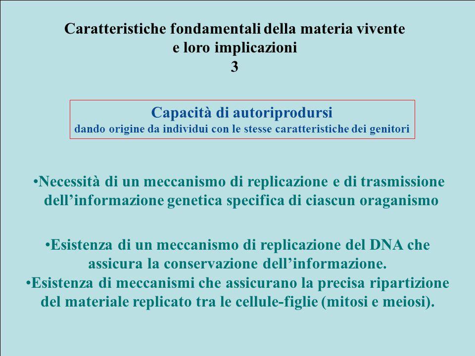 Caratteristiche fondamentali della materia vivente e loro implicazioni 3 Capacità di autoriprodursi dando origine da individui con le stesse caratteri