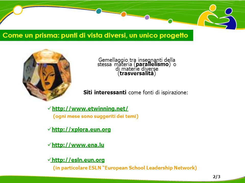Come un prisma: punti di vista diversi, un unico progetto 2/3 Gemellaggio tra insegnanti della stessa materia (parallelismo) o di materie diverse (trasversalità) Siti interessanti come fonti di ispirazione: http://www.etwinning.net/ (ogni mese sono suggeriti dei temi) http://xplora.eun.org http://www.ena.lu http://esln.eun.org (in particolare ESLN European School Leadership Network)