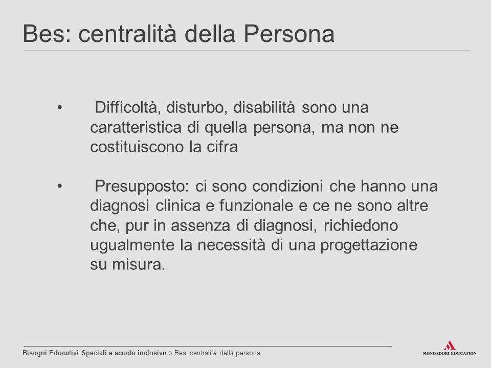 Difficoltà, disturbo, disabilità sono una caratteristica di quella persona, ma non ne costituiscono la cifra Presupposto: ci sono condizioni che hanno