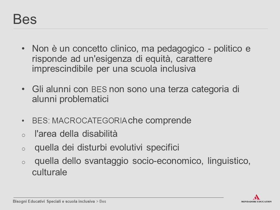 Non è un concetto clinico, ma pedagogico - politico e risponde ad un'esigenza di equità, carattere imprescindibile per una scuola inclusiva Gli alunni