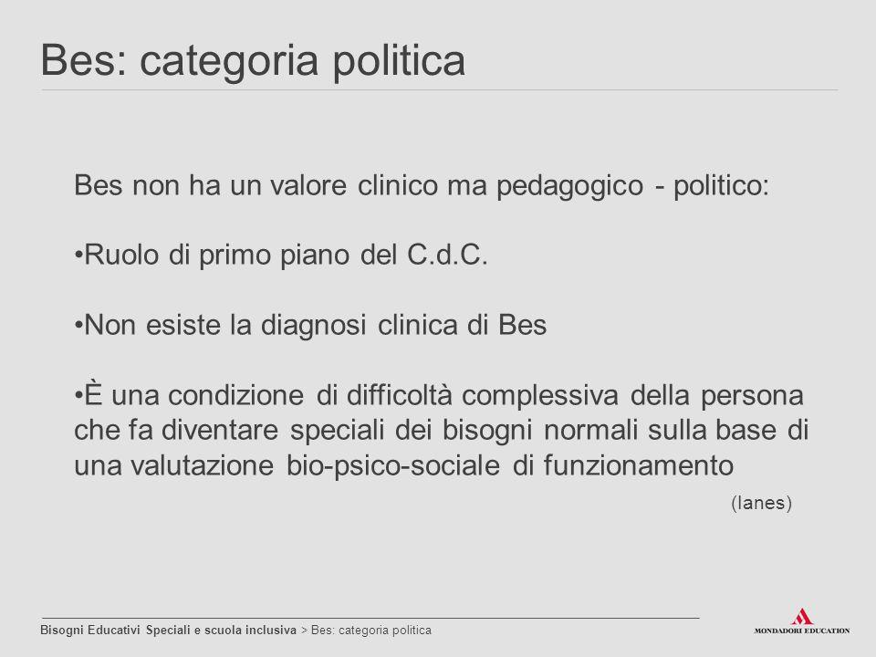Bes non ha un valore clinico ma pedagogico - politico: Ruolo di primo piano del C.d.C. Non esiste la diagnosi clinica di Bes È una condizione di diffi