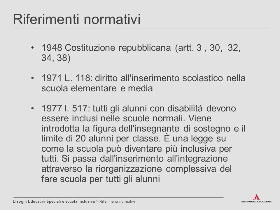 1948 Costituzione repubblicana (artt. 3, 30, 32, 34, 38) 1971 L. 118: diritto all'inserimento scolastico nella scuola elementare e media 1977 l. 517: