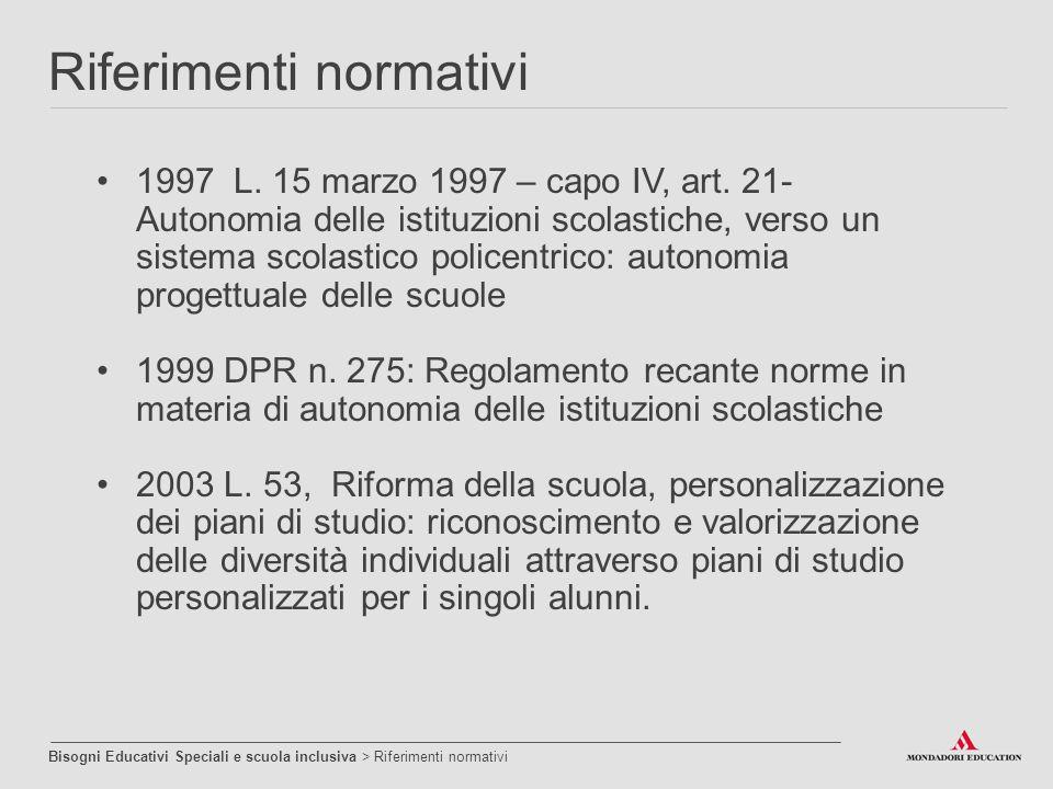 1997 L. 15 marzo 1997 – capo IV, art. 21- Autonomia delle istituzioni scolastiche, verso un sistema scolastico policentrico: autonomia progettuale del