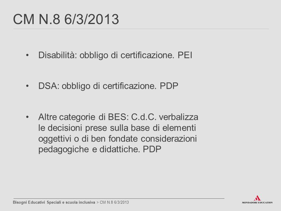 Disabilità: obbligo di certificazione. PEI DSA: obbligo di certificazione. PDP Altre categorie di BES: C.d.C. verbalizza le decisioni prese sulla base