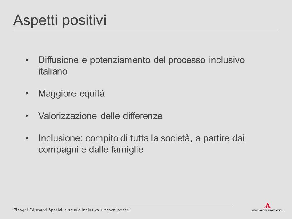 Diffusione e potenziamento del processo inclusivo italiano Maggiore equità Valorizzazione delle differenze Inclusione: compito di tutta la società, a
