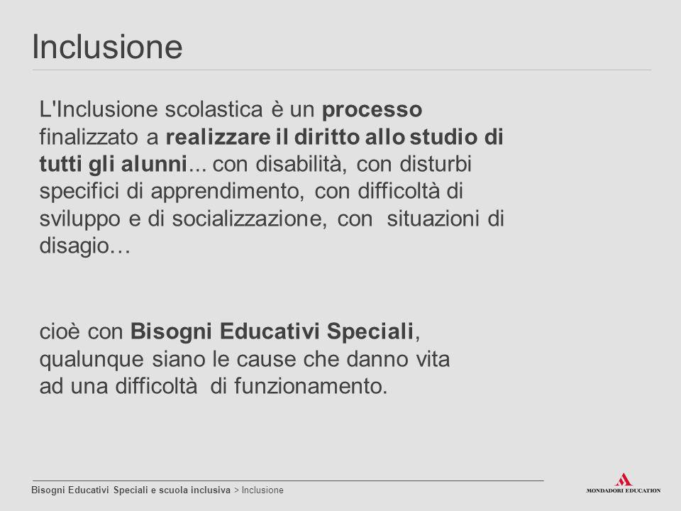 L'Inclusione scolastica è un processo finalizzato a realizzare il diritto allo studio di tutti gli alunni... con disabilità, con disturbi specifici di