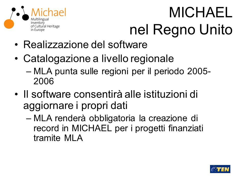 MICHAEL nel Regno Unito Realizzazione del software Catalogazione a livello regionale –MLA punta sulle regioni per il periodo 2005- 2006 Il software consentirà alle istituzioni di aggiornare i propri dati –MLA renderà obbligatoria la creazione di record in MICHAEL per i progetti finanziati tramite MLA