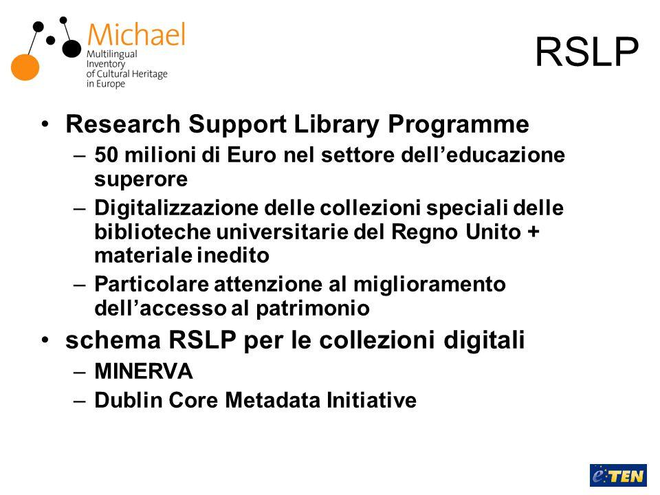 RSLP Research Support Library Programme –50 milioni di Euro nel settore dell'educazione superore –Digitalizzazione delle collezioni speciali delle biblioteche universitarie del Regno Unito + materiale inedito –Particolare attenzione al miglioramento dell'accesso al patrimonio schema RSLP per le collezioni digitali –MINERVA –Dublin Core Metadata Initiative