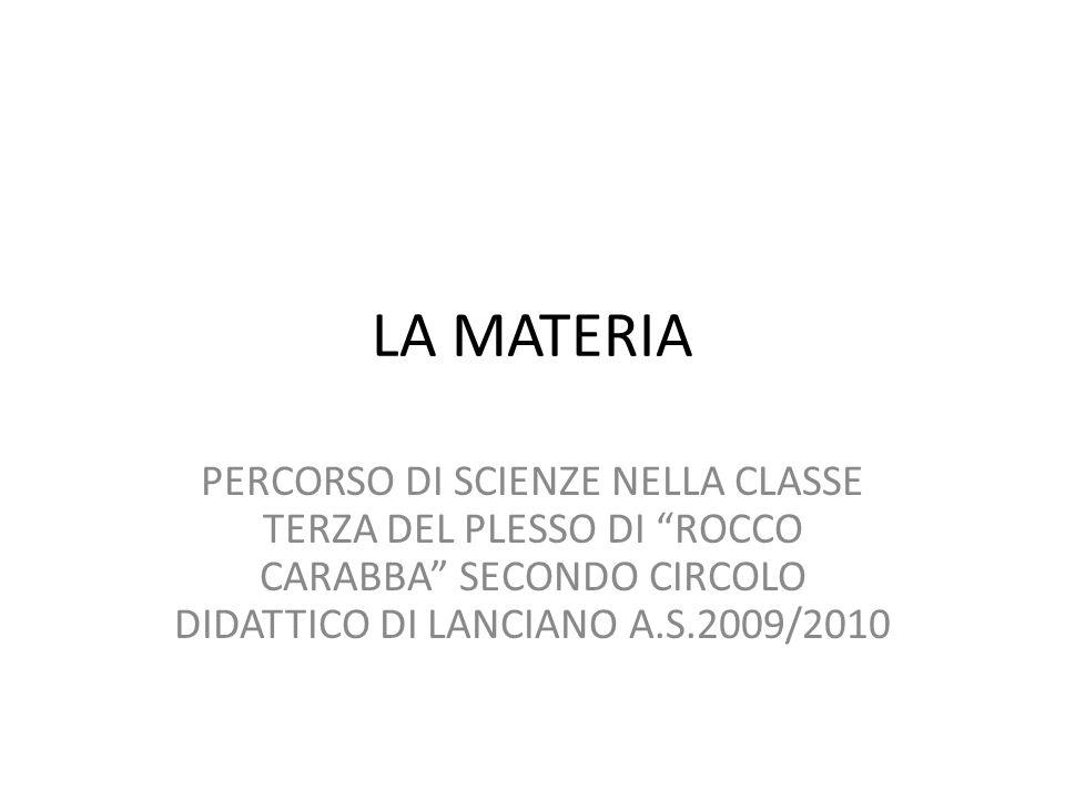 """LA MATERIA PERCORSO DI SCIENZE NELLA CLASSE TERZA DEL PLESSO DI """"ROCCO CARABBA"""" SECONDO CIRCOLO DIDATTICO DI LANCIANO A.S.2009/2010"""
