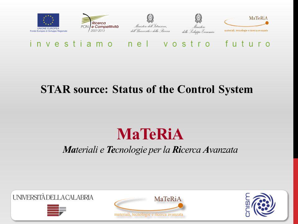 MaTeRiA Materiali e Tecnologie per la Ricerca Avanzata i n v e s t i a m o n e l v o s t r o f u t u r o STAR source: Status of the Control System