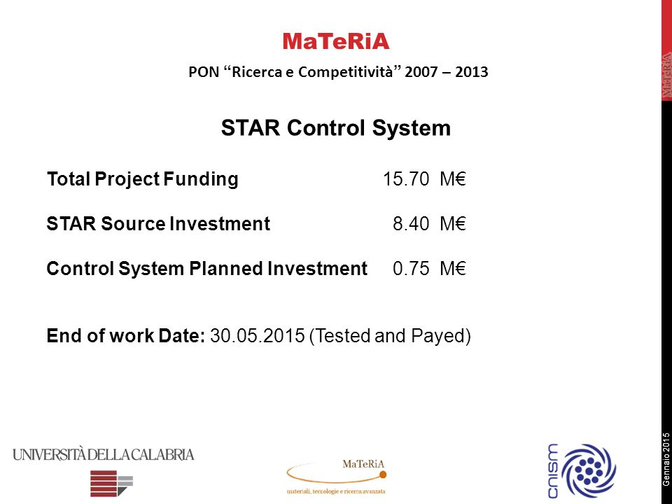 Gennaio 2015 STAR Control System Total Project Funding15.70 M€ STAR Source Investment 8.40 M€ Control System Planned Investment 0.75 M€ End of work Date: 30.05.2015 (Tested and Payed) MaTeRiA PON Ricerca e Competitività 2007 – 2013