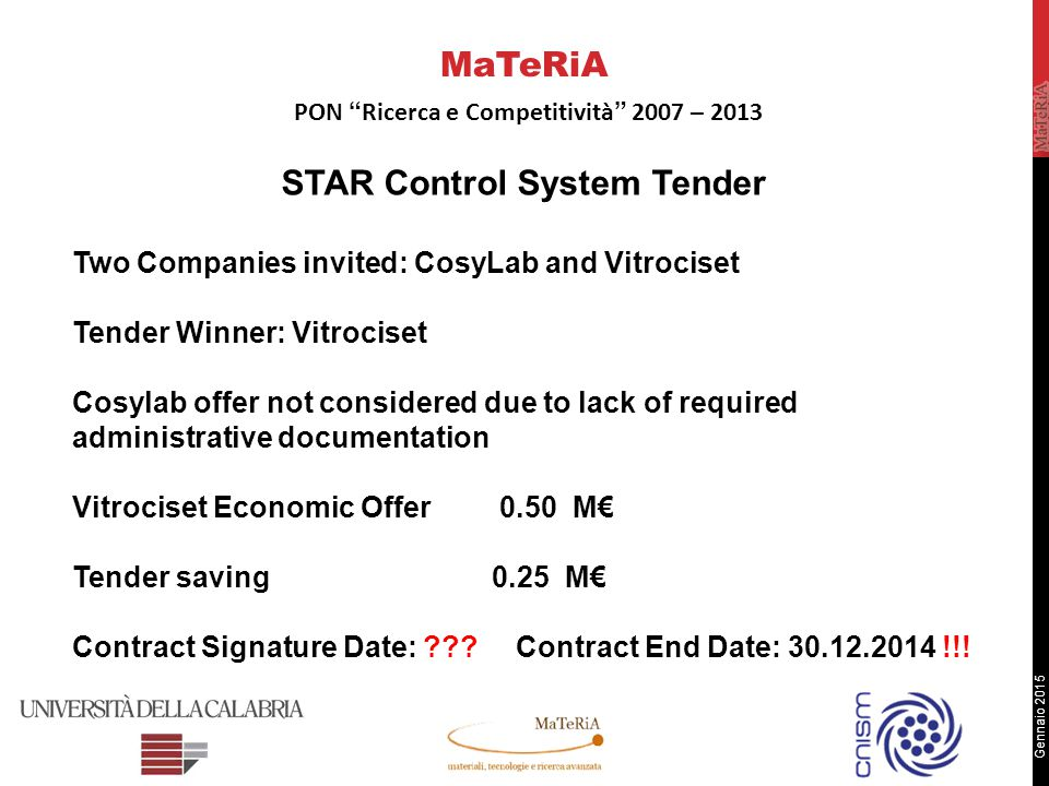 Gennaio 2015 STAR Control System Tender Two Companies invited: CosyLab and Vitrociset Tender Winner: Vitrociset Cosylab offer not considered due to lack of required administrative documentation Vitrociset Economic Offer 0.50 M€ Tender saving0.25 M€ Contract Signature Date: .