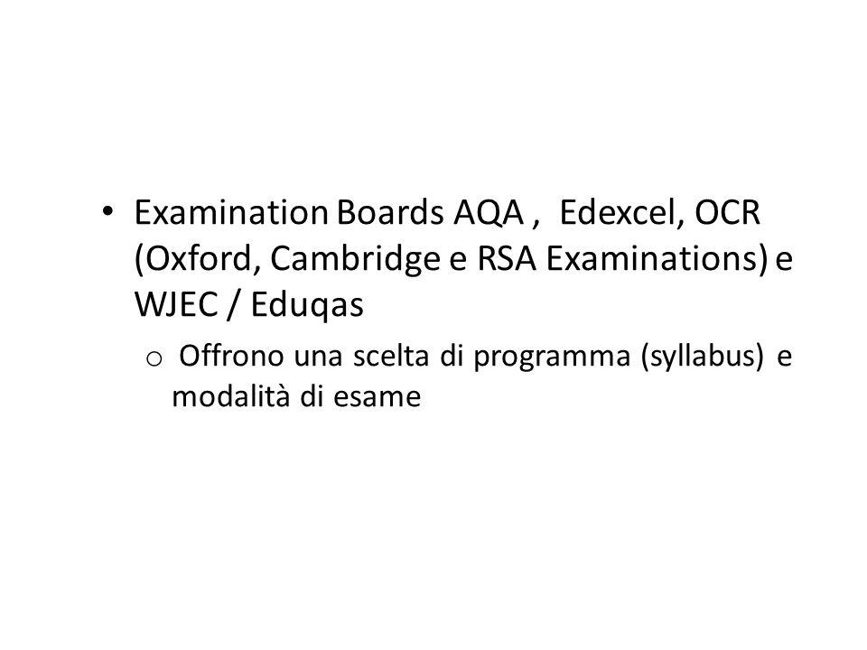 Examination Boards AQA, Edexcel, OCR (Oxford, Cambridge e RSA Examinations) e WJEC / Eduqas o Offrono una scelta di programma (syllabus) e modalità di esame