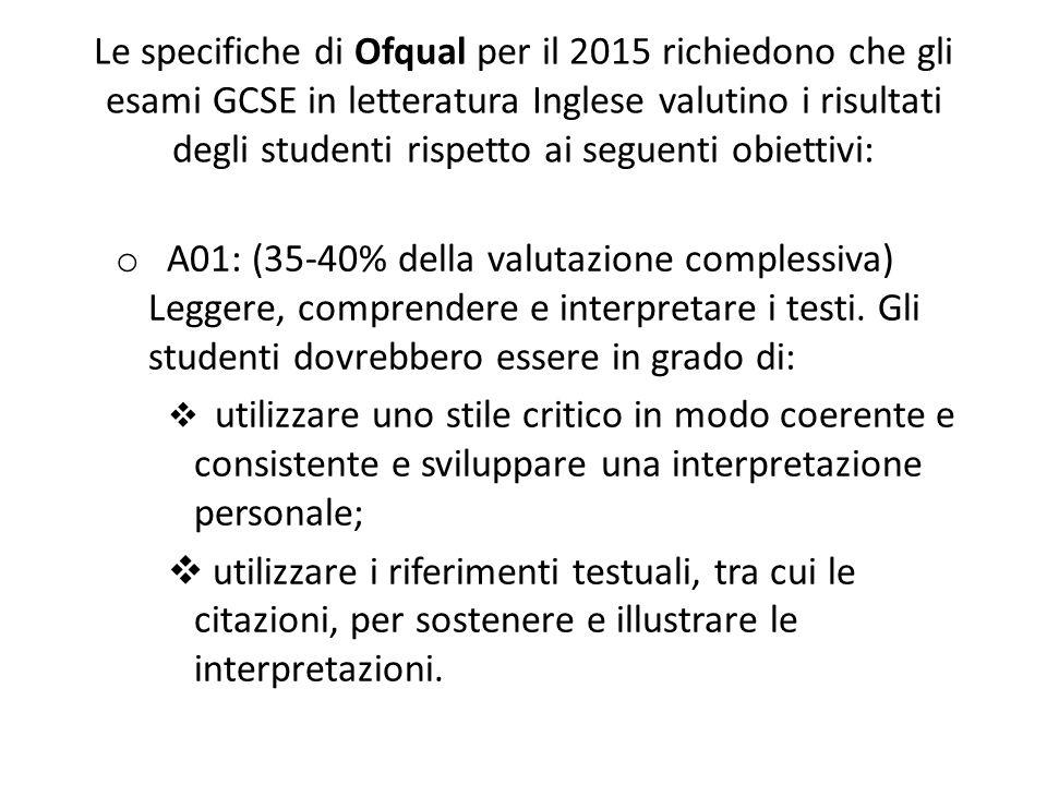 Le specifiche di Ofqual per il 2015 richiedono che gli esami GCSE in letteratura Inglese valutino i risultati degli studenti rispetto ai seguenti obiettivi: o A01: (35-40% della valutazione complessiva) Leggere, comprendere e interpretare i testi.