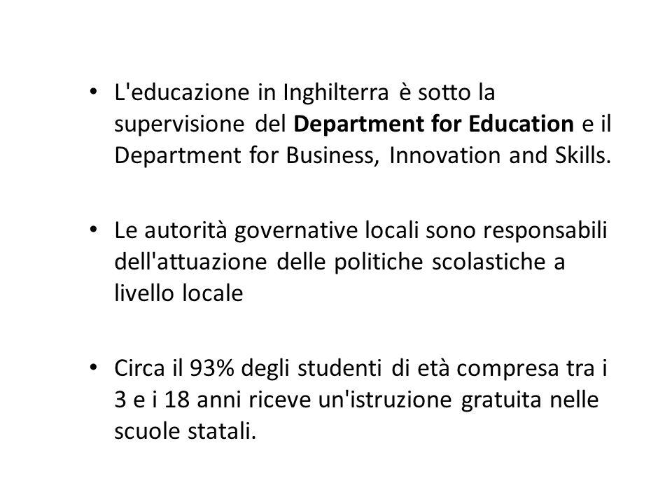 L educazione in Inghilterra è sotto la supervisione del Department for Education e il Department for Business, Innovation and Skills.