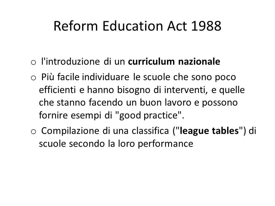 Reform Education Act 1988 o l introduzione di un curriculum nazionale o Più facile individuare le scuole che sono poco efficienti e hanno bisogno di interventi, e quelle che stanno facendo un buon lavoro e possono fornire esempi di good practice .
