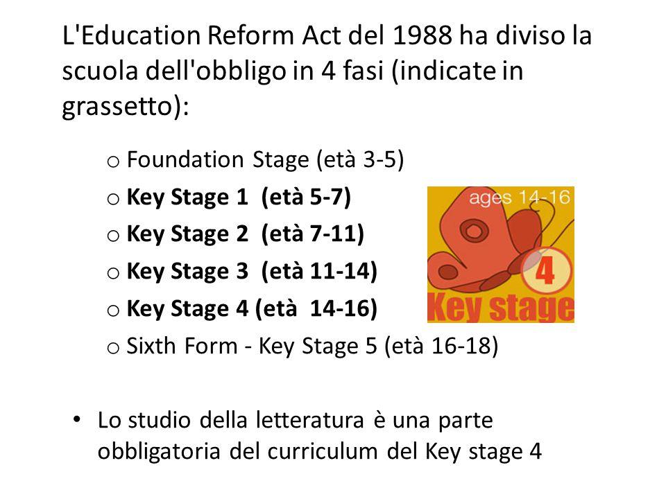 Sia la performance dell alunno che la performance della scuola vengono valutate attraverso i risultati degli alunni nei test formali alla fine delle Key Stages 1, 2 e 3 (i cosiddetti SATS).