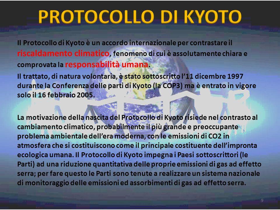 Il Protocollo di Kyoto è un accordo internazionale per contrastare il riscaldamento climatico, fenomeno di cui è assolutamente chiara e comprovata la