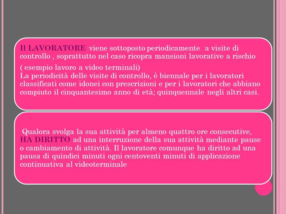 Il LAVORATORE viene sottoposto periodicamente a visite di controllo, soprattutto nel caso ricopra mansioni lavorative a rischio ( esempio lavoro a vid