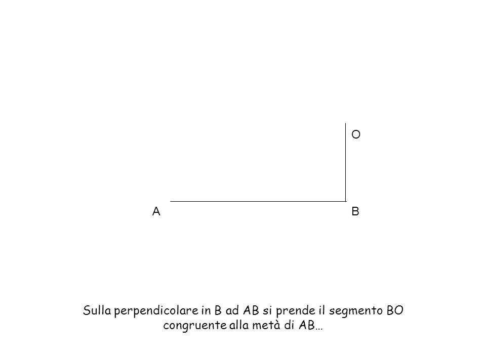AB O Sulla perpendicolare in B ad AB si prende il segmento BO congruente alla metà di AB…