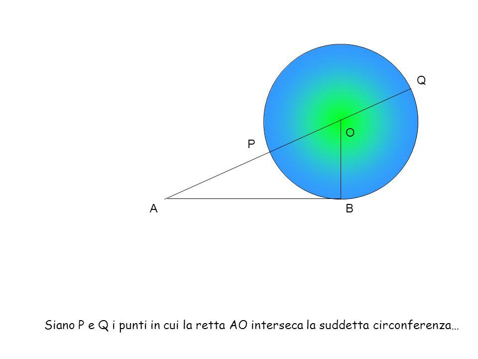 AB O P Q Siano P e Q i punti in cui la retta AO interseca la suddetta circonferenza…