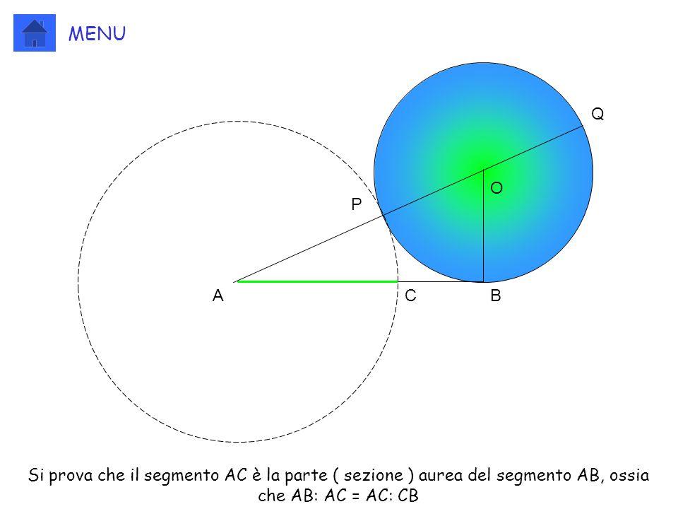 ABC O P Q Si prova che il segmento AC è la parte ( sezione ) aurea del segmento AB, ossia che AB: AC = AC: CB MENU
