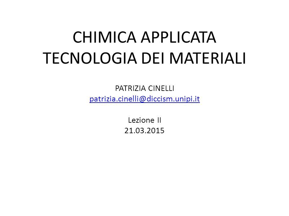 CHIMICA APPLICATA TECNOLOGIA DEI MATERIALI PATRIZIA CINELLI patrizia.cinelli@diccism.unipi.it Lezione II 21.03.2015