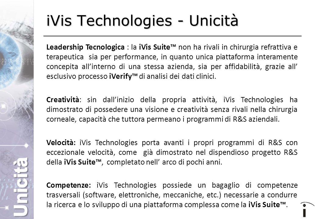 iVis Technologies - Unicità Leadership Tecnologica : la iVis Suite™ non ha rivali in chirurgia refrattiva e terapeutica sia per performance, in quanto unica piattaforma interamente concepita all'interno di una stessa azienda, sia per affidabilità, grazie all' esclusivo processo iVerify™ di analisi dei dati clinici.