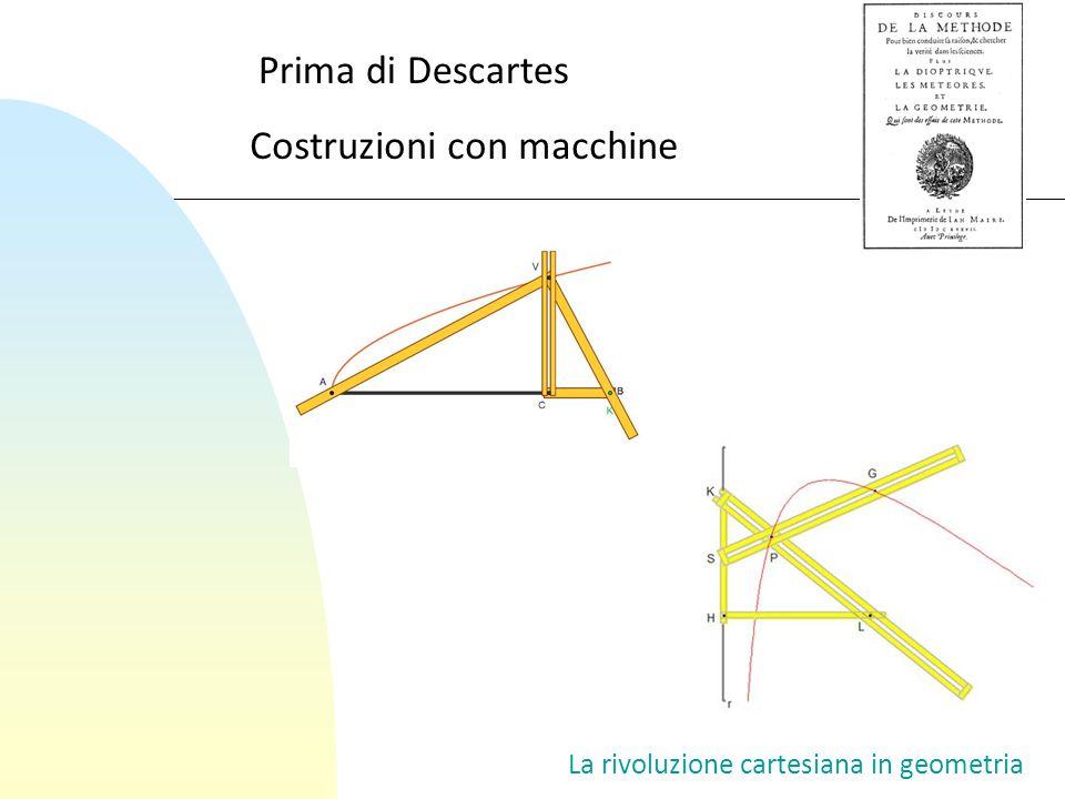 La rivoluzione cartesiana in geometria Prima di Descartes Costruzioni con macchine