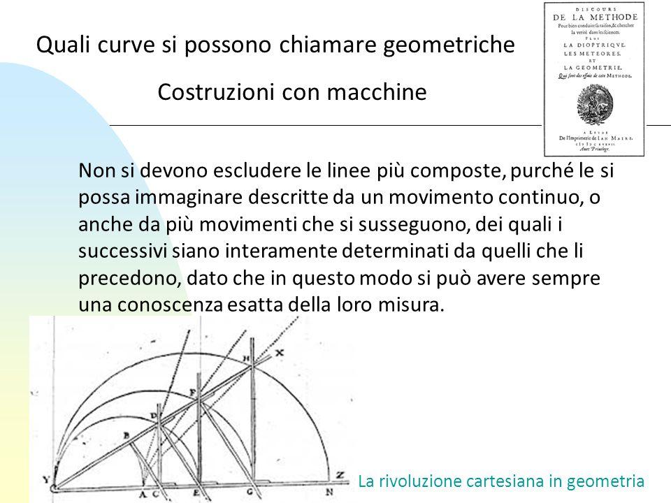 La rivoluzione cartesiana in geometria Non si devono escludere le linee più composte, purché le si possa immaginare descritte da un movimento continuo