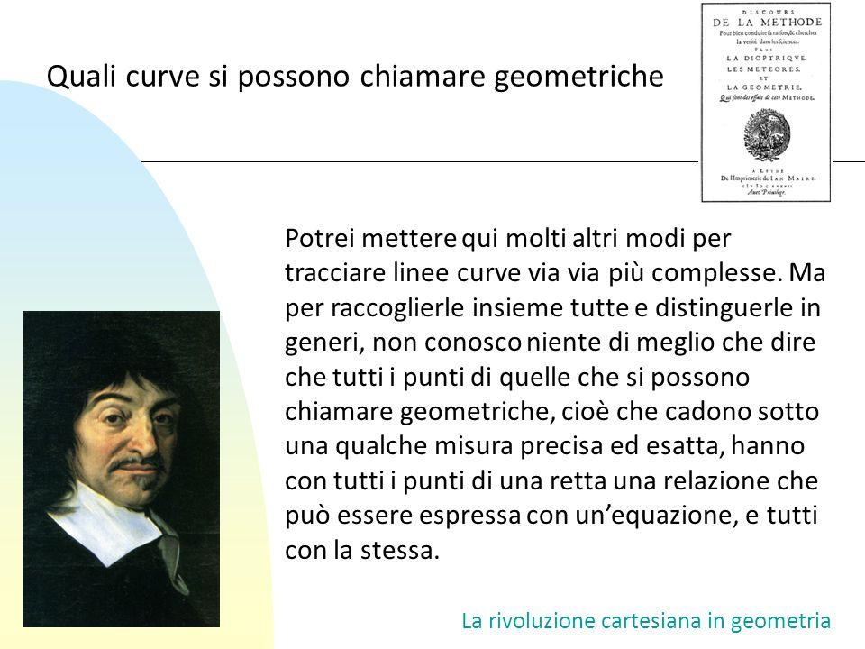 La rivoluzione cartesiana in geometria Potrei mettere qui molti altri modi per tracciare linee curve via via più complesse. Ma per raccoglierle insiem