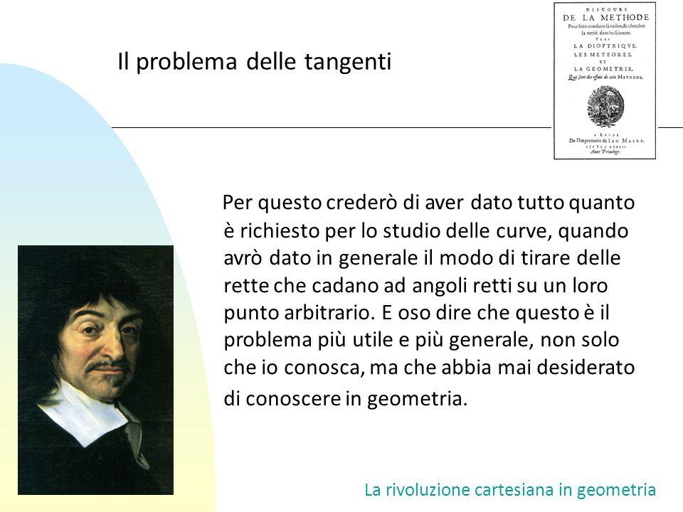 La rivoluzione cartesiana in geometria Il problema delle tangenti Per questo crederò di aver dato tutto quanto è richiesto per lo studio delle curve,