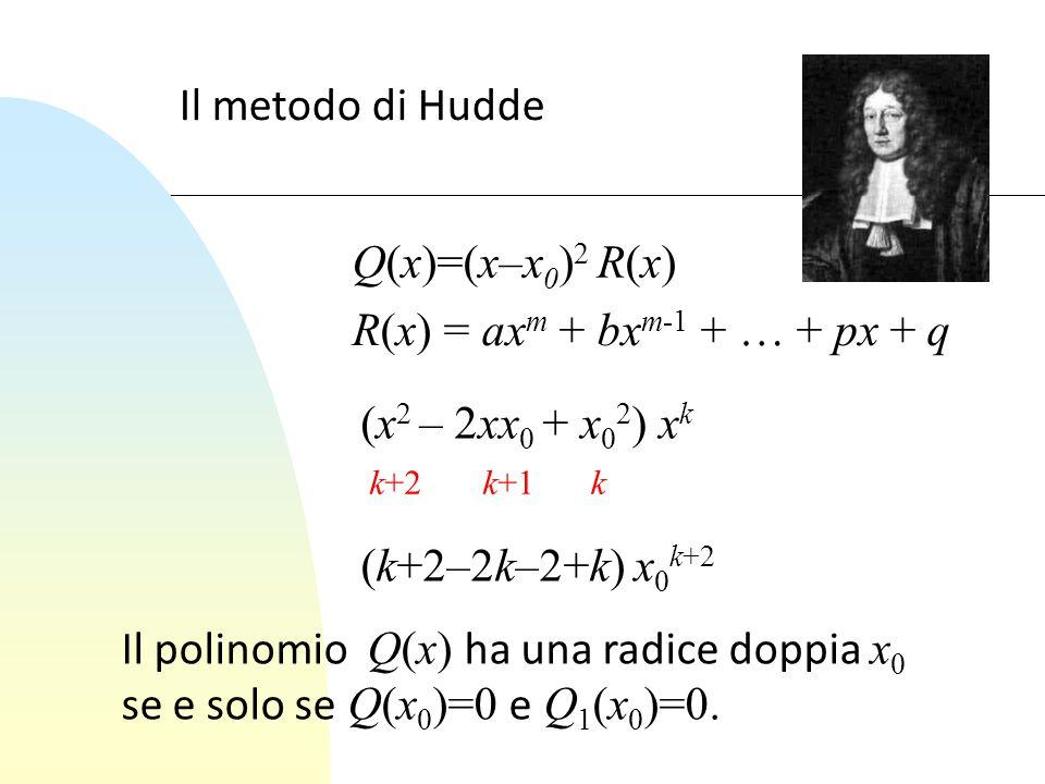 Il metodo di Hudde (x 2 – 2xx 0 + x 0 2 ) x k Q(x)=(x–x 0 ) 2 R(x) k+2k+1k (k+2–2k–2+k) x 0 k+2 Il polinomio Q(x) ha una radice doppia x 0 se e solo s
