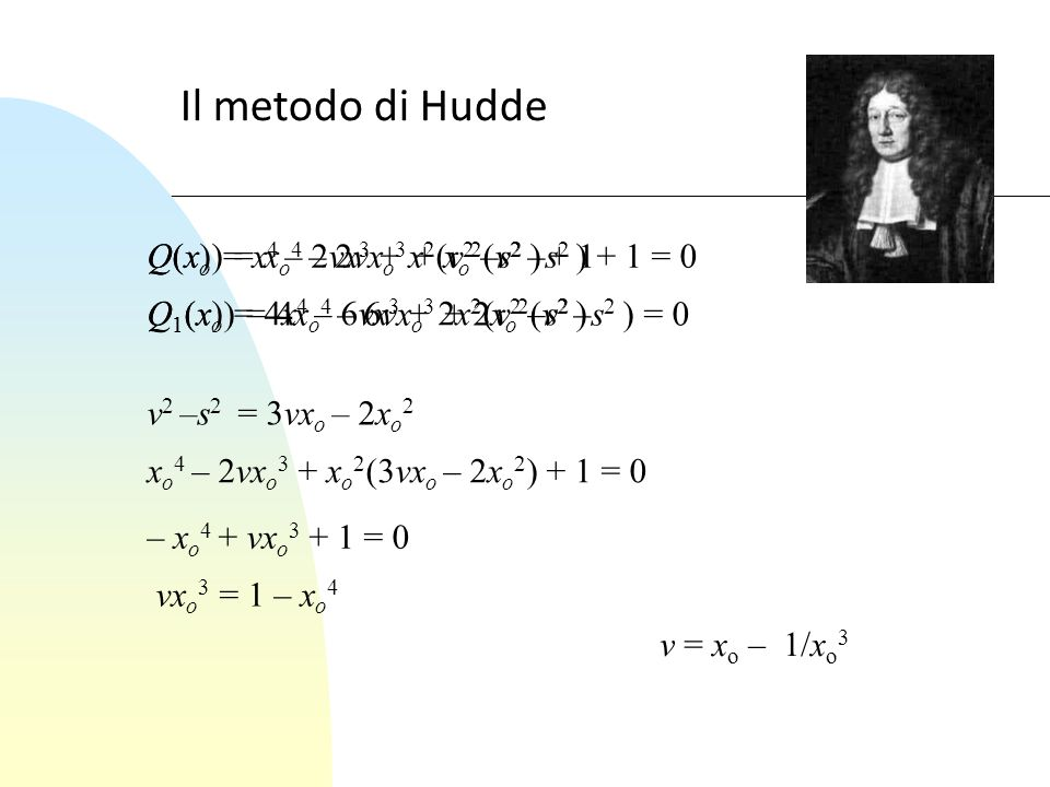Il metodo di Hudde Q(x) = x 4 – 2vx 3 + x 2 (v 2 –s 2 ) + 1 Q 1 (x) = 4x 4 – 6vx 3 + 2x 2 (v 2 –s 2 ) Q(x o ) = x o 4 – 2vx o 3 + x o 2 (v 2 –s 2 ) +