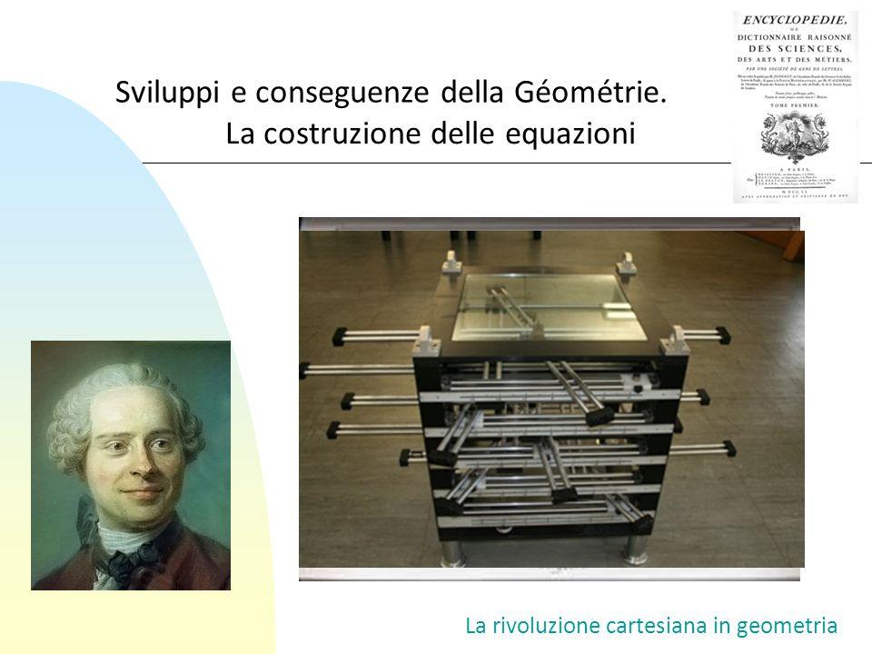 La rivoluzione cartesiana in geometria Sviluppi e conseguenze della Géométrie. La costruzione delle equazioni