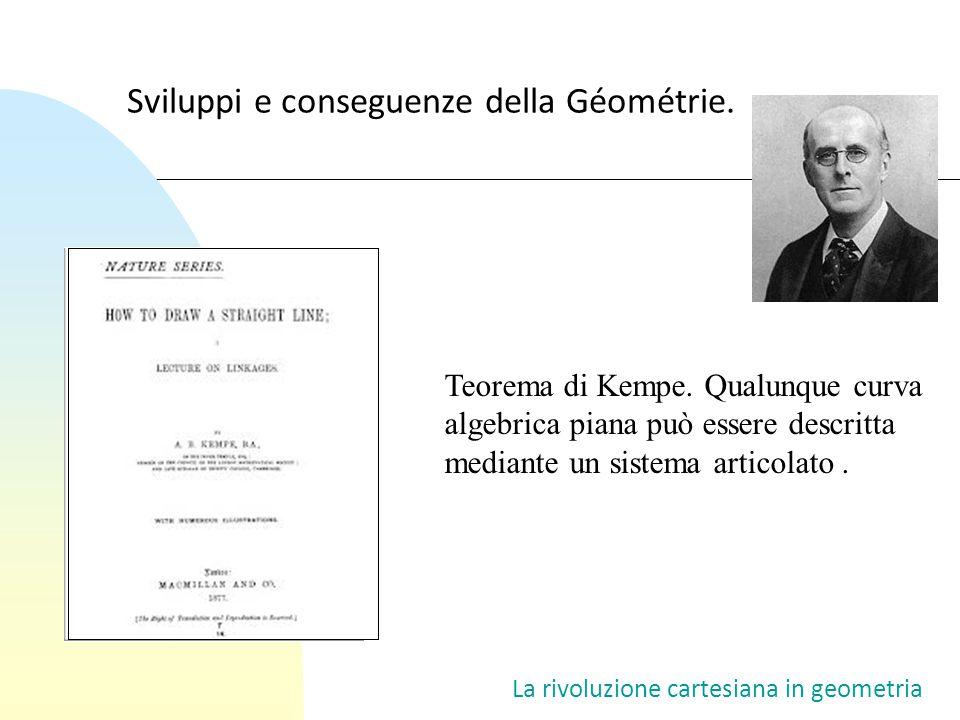 Teorema di Kempe. Qualunque curva algebrica piana può essere descritta mediante un sistema articolato. Sviluppi e conseguenze della Géométrie. La rivo