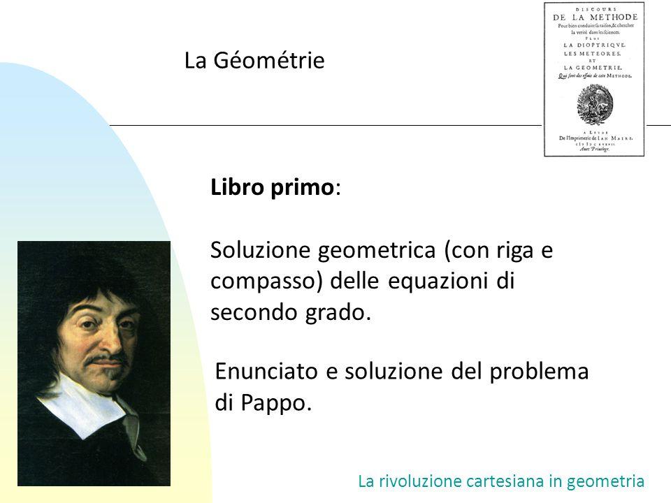 La rivoluzione cartesiana in geometria Il problema delle tangenti y = x 2 v s (x–v) 2 + y 2 = s 2 y 2 = s 2 – (x – v) 2 x 4 = s 2 – (x – v) 2 x 4 + x 2 – 2xv + v 2 – s 2 = 0 (x o, y o )