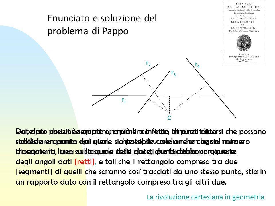 La rivoluzione cartesiana in geometria Enunciato e soluzione del problema di Pappo r1r1 r3r3 r4r4 r2r2 C Date per posizione quattro, o più linee rette