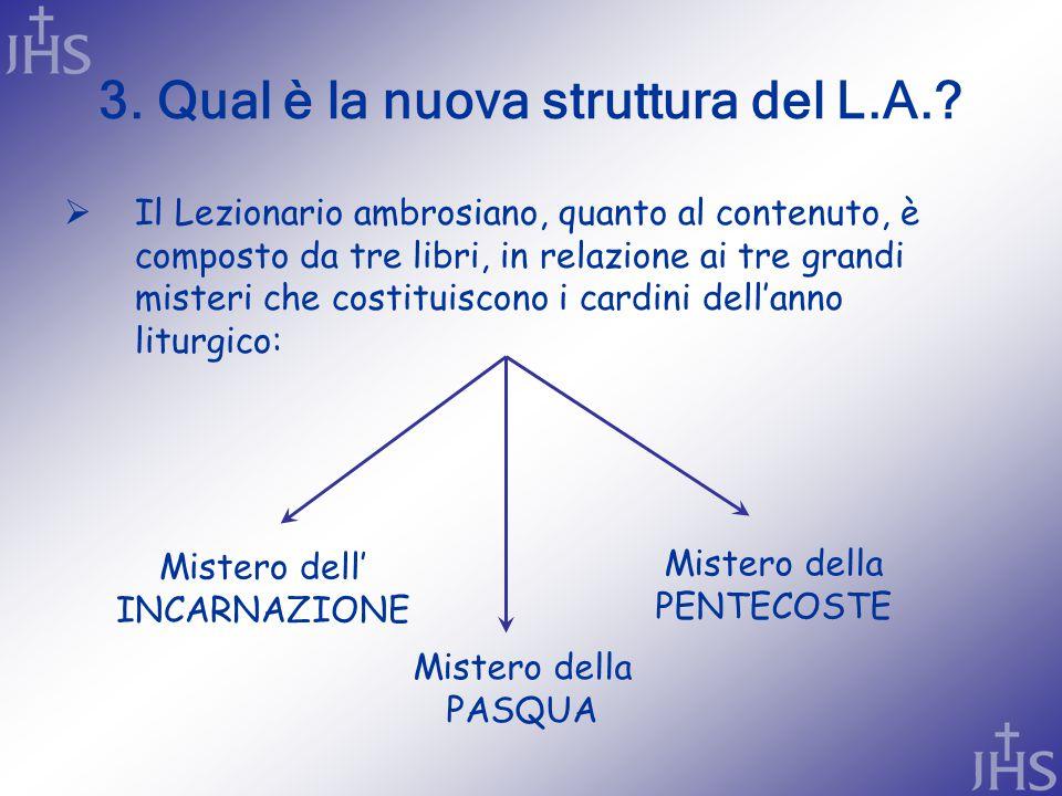 3. Qual è la nuova struttura del L.A.?  Il Lezionario ambrosiano, quanto al contenuto, è composto da tre libri, in relazione ai tre grandi misteri ch