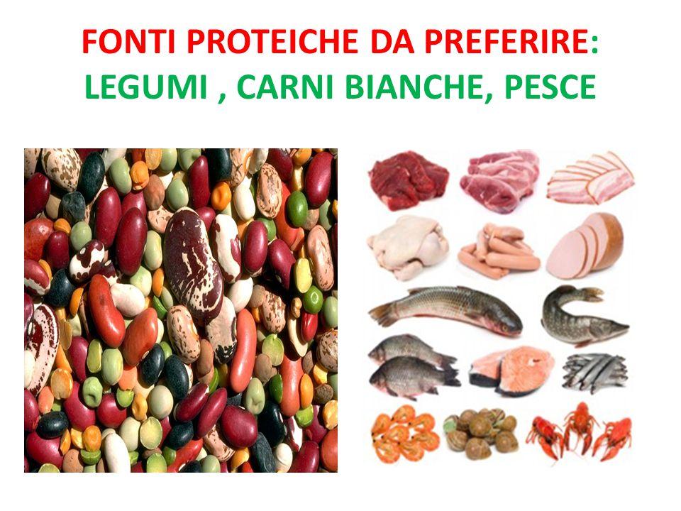 FONTI PROTEICHE DA PREFERIRE: LEGUMI, CARNI BIANCHE, PESCE