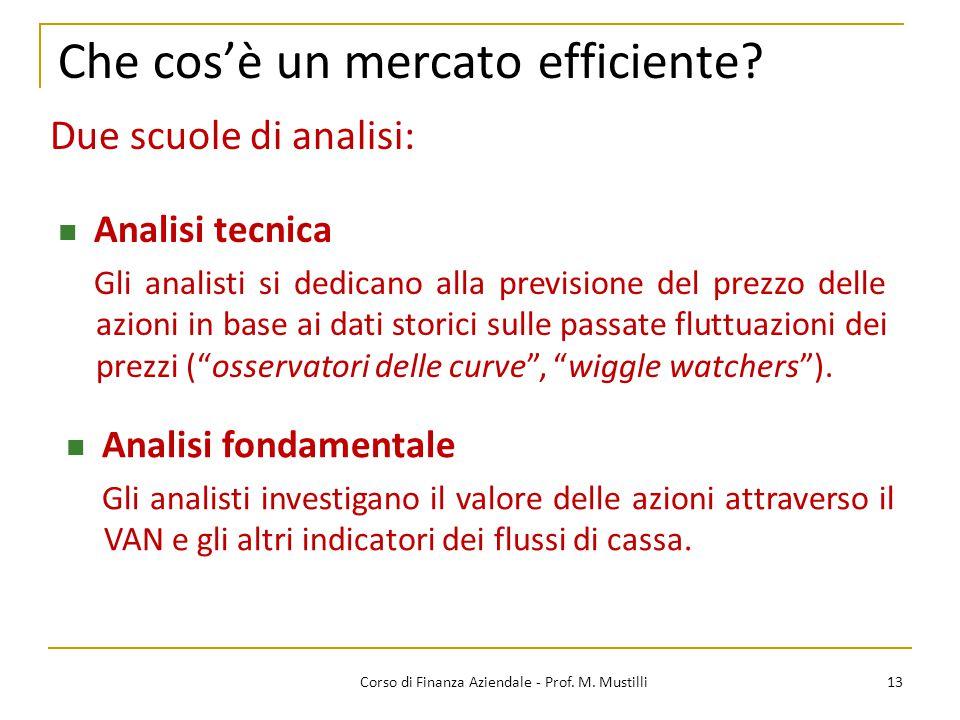 Che cos'è un mercato efficiente? 13Corso di Finanza Aziendale - Prof. M. Mustilli Analisi fondamentale Gli analisti investigano il valore delle azioni