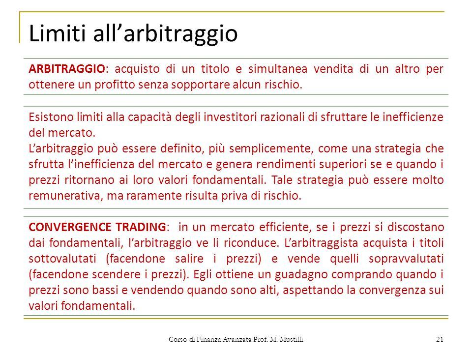 Limiti all'arbitraggio Corso di Finanza Avanzata Prof. M. Mustilli 21 ARBITRAGGIO: acquisto di un titolo e simultanea vendita di un altro per ottenere