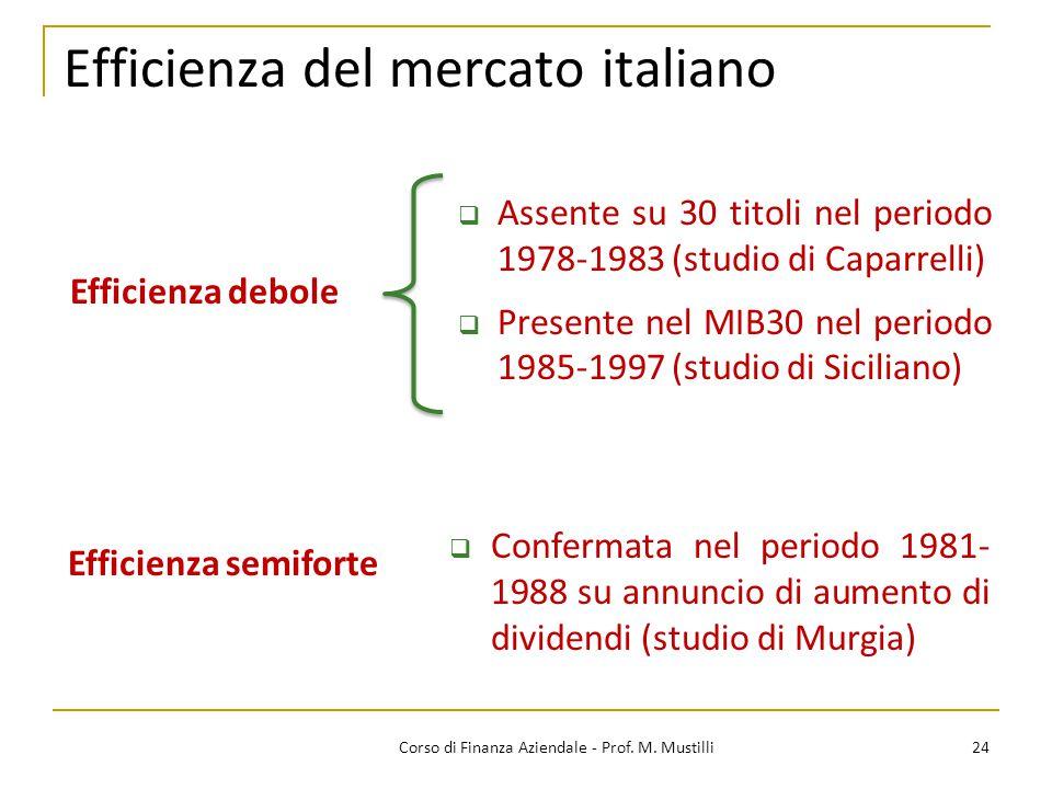 24Corso di Finanza Aziendale - Prof. M. Mustilli Efficienza del mercato italiano  Assente su 30 titoli nel periodo 1978-1983 (studio di Caparrelli) 