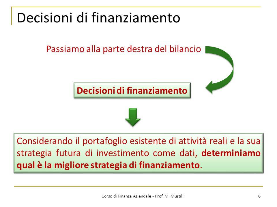 Decisioni di finanziamento 6Corso di Finanza Aziendale - Prof. M. Mustilli Considerando il portafoglio esistente di attività reali e la sua strategia