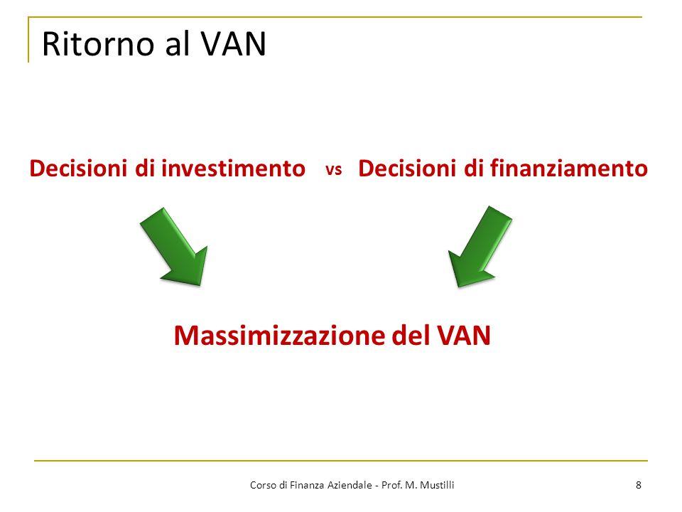 Ritorno al VAN 8Corso di Finanza Aziendale - Prof. M. Mustilli Decisioni di investimentoDecisioni di finanziamento Massimizzazione del VAN vs
