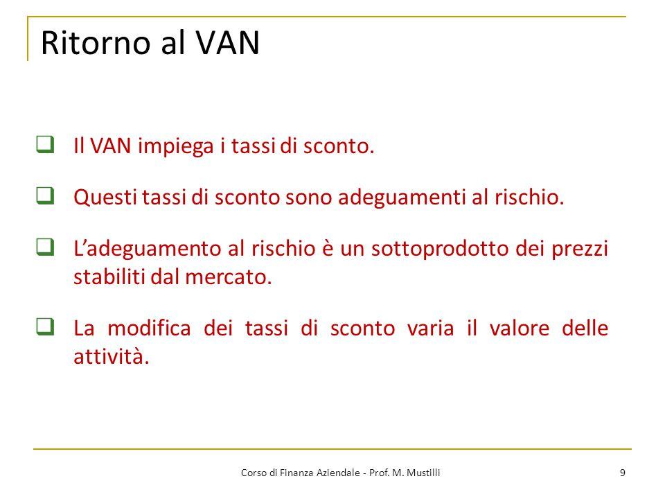 Ritorno al VAN 9Corso di Finanza Aziendale - Prof. M. Mustilli  Il VAN impiega i tassi di sconto.  Questi tassi di sconto sono adeguamenti al rischi