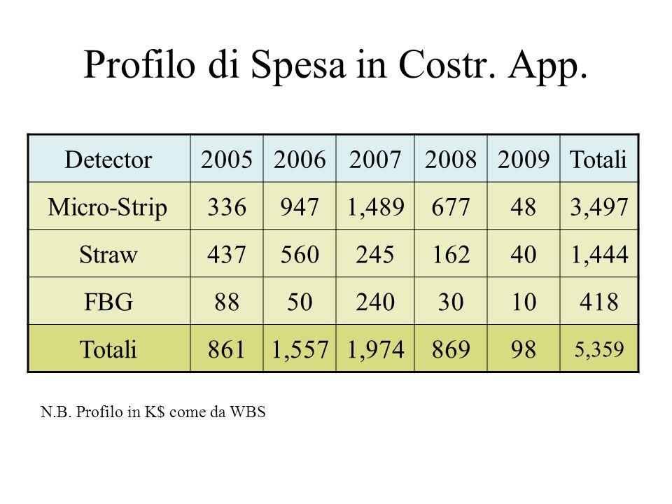 Profilo di Spesa in Costr. App. Detector20052006200720082009Totali Micro-Strip3369471,489677483,497 Straw437560245162401,444 FBG88502403010418 Totali8